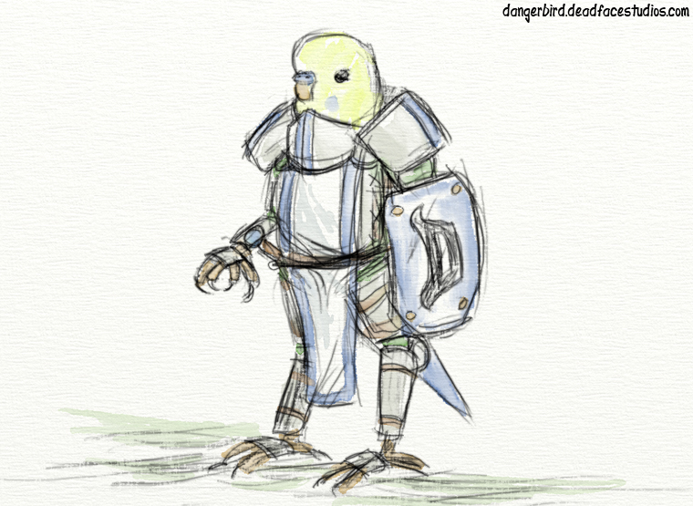 Sketching a fat budgie in armor is challenging