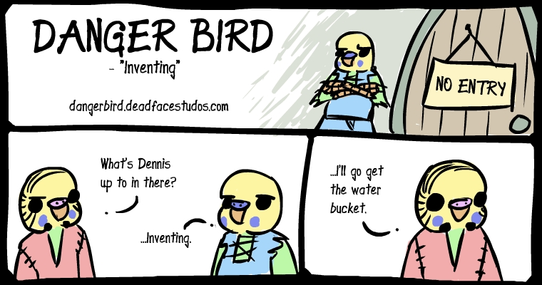 Not pictured: The first aid kit at Danger Bird's feet. They know the routine by now.