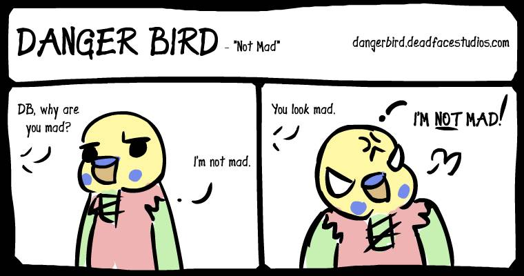 Danger Bird's angry face is his normal face